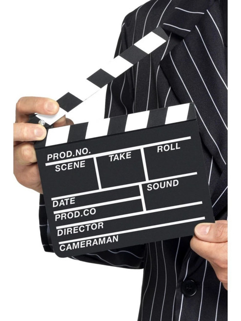 """22"""" Black and White 1920 Hollywood Style Unisex Adult Halloween Clapper Board Costume Accessory - One Size - IMAGE 1"""