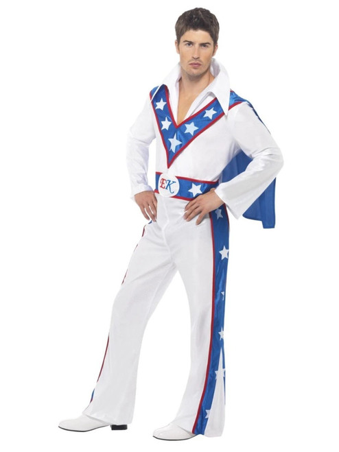 """49"""" White and Blue Evel Knievel Men Adult Halloween Costume - Large - IMAGE 1"""