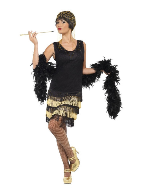 """49"""" Black and Gold 1920's Style Fringed Flapper Women Adult Halloween Costume - Large - IMAGE 1"""