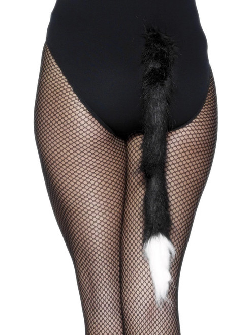 """19"""" Black and White Cat Tail Unisex Adult Halloween Costume Accessory - One Size - IMAGE 1"""
