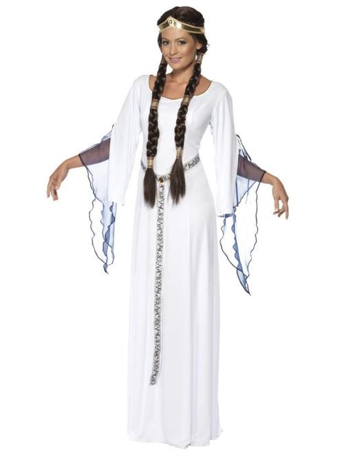 "49"" White and Blue Medieval Maid Women Adult Halloween Costume - Medium - IMAGE 1"