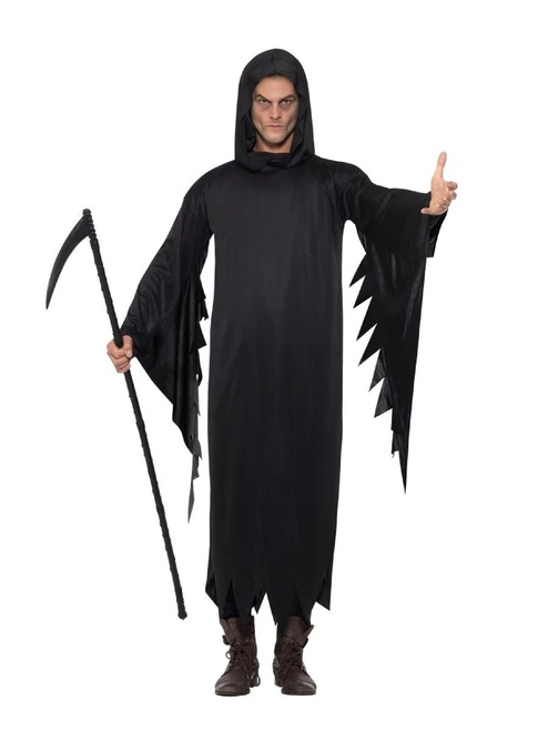 "49"" Black Screamer Scary Men Adult Halloween Costume - Large - IMAGE 1"
