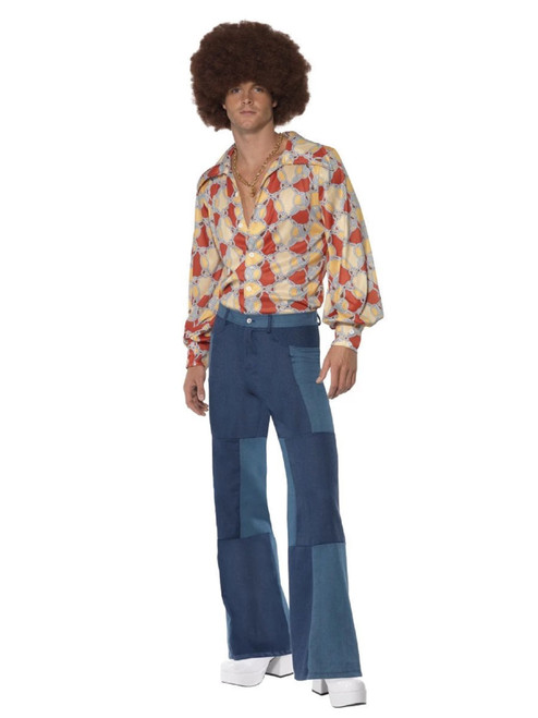 "49"" Blue 1970's Style Deluxe Flared Trousers Men Adult Halloween Costume - Medium - IMAGE 1"