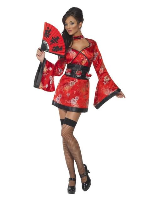 "49"" Red and Black Vodka Geisha Women Adult Halloween Costume - Medium - IMAGE 1"