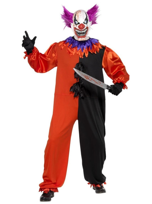 """49"""" Red and Black Cirque Sinister Scary Bo Bo the Clown Men Adult Halloween Costume - Small - IMAGE 1"""