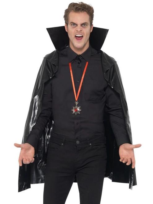 "29"" Black Vampire Unisex Adult Halloween Cape Costume Accessory - One Size - IMAGE 1"