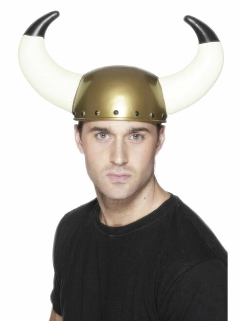 """26"""" Gold and White Viking Unisex Adult Halloween Helmet with Large Horns Costume Accessory - One Size - IMAGE 1"""