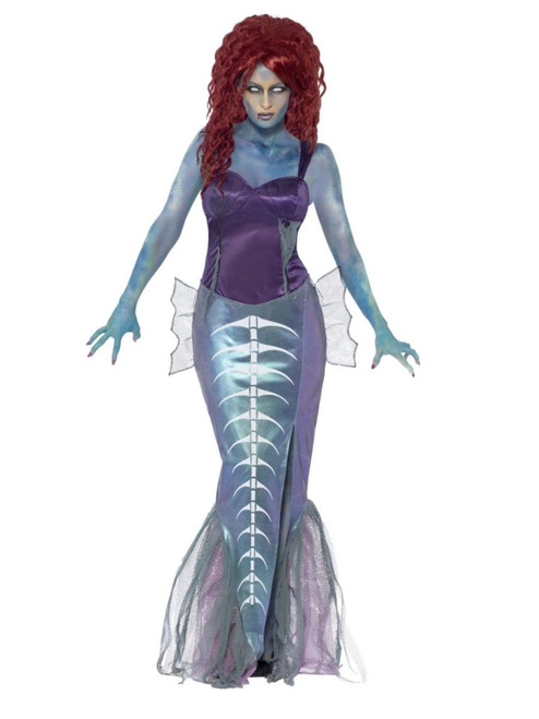 "40"" Blue and Violet Zombie Mermaid Women Adult Halloween Costume - Medium - IMAGE 1"