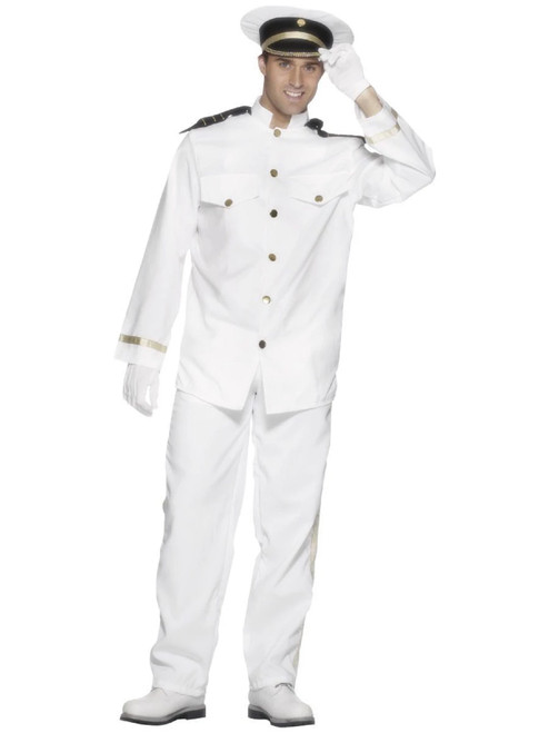 """49"""" White and Black Captain Men Adult Halloween Costume - XL - IMAGE 1"""