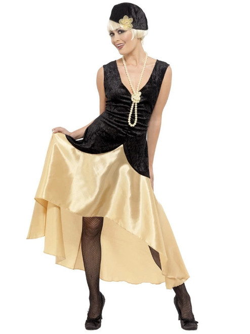 "49"" Black and Beige 1920's Gatsby Women Adult Halloween Costume - Large - IMAGE 1"