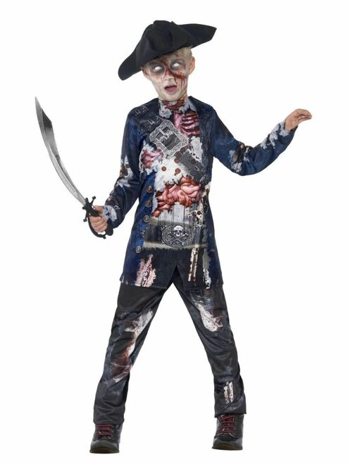 """42"""" Black and Gray Sublimation Print Jolly Rotten Pirate Boy Tween Halloween Costume - IMAGE 1"""