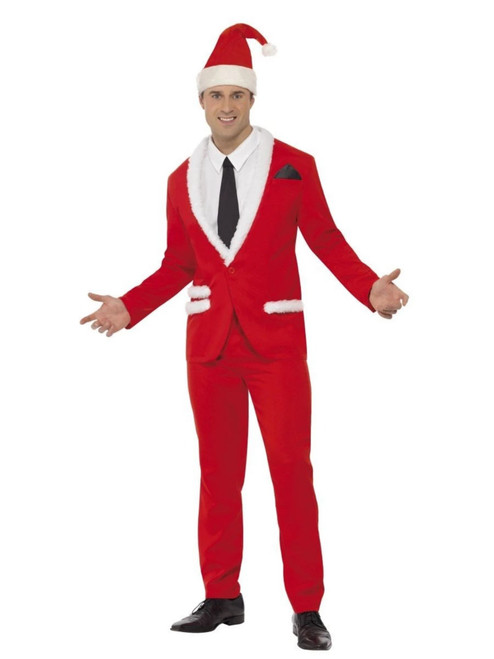 """49"""" Red and White Men Adult Christmas Santa Costume - Large - IMAGE 1"""