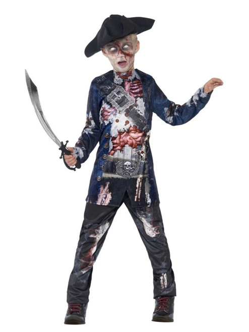 """42"""" Black and Gray Sublimation Print Jolly Rotten Pirate Boy Child Halloween Costume - Small - IMAGE 1"""