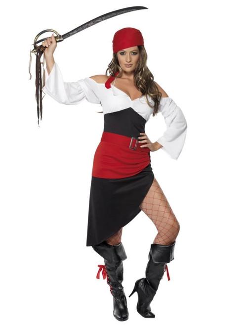 "50"" Black and White Sassy Pirate Wench Women Adult Halloween Costume - Medium - IMAGE 1"