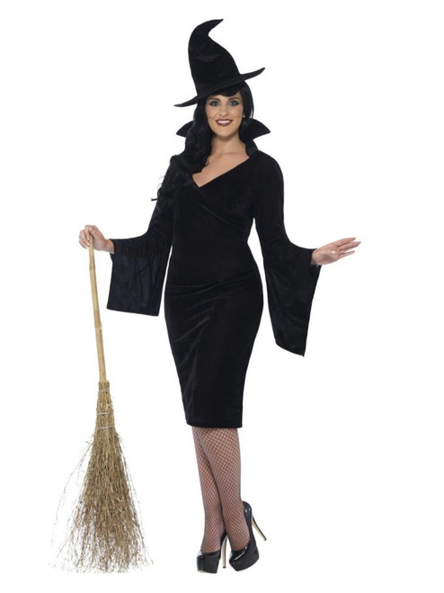 """48"""" Black Curves Witch Women Adult Halloween Costume - 2x - IMAGE 1"""
