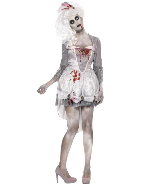 "42"" Gray and White Zombie Georgian Women Adult Halloween Costume - Large - IMAGE 1"