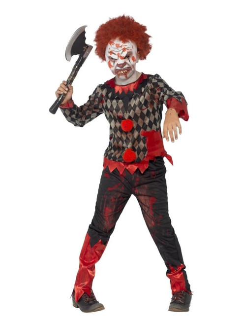 "40"" Red and Green Zombie Clown Boy Child Halloween Costume - Large - IMAGE 1"