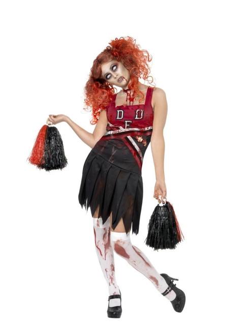 "49"" Red and Black Cheerleader Zombie Women Adult Halloween Costume - XS - IMAGE 1"