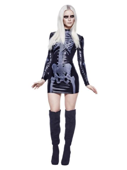 "49"" Black and White Fever Miss Whiplash Skeleton Women Adult Halloween Costume - XS - IMAGE 1"
