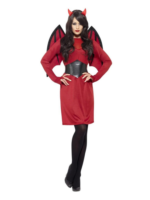 """42"""" Red and Black Economy Devil Women Adult Costume - Small - IMAGE 1"""
