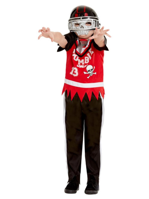 "40"" Red and Black Zombie Football Player Boy Child Halloween Costume - Medium - IMAGE 1"