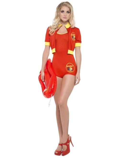 "41"" Red and Yellow Baywatch Lifeguard Women Adult Halloween Costume - Medium - IMAGE 1"
