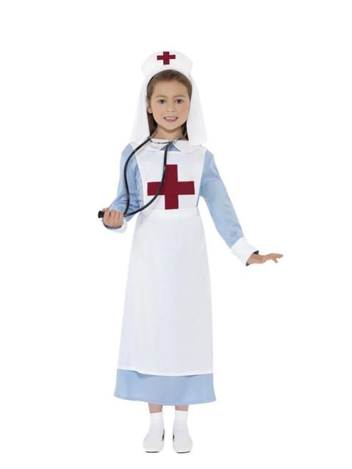 "42"" White and Blue WW1 Nurse Girl Child Halloween Costume - Large - IMAGE 1"