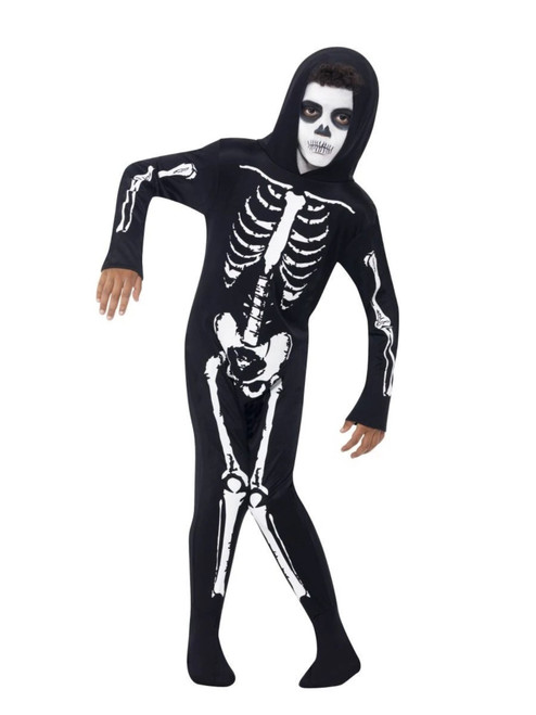 "49"" Black and White Skeleton Unisex Child Halloween Costume - Small - IMAGE 1"