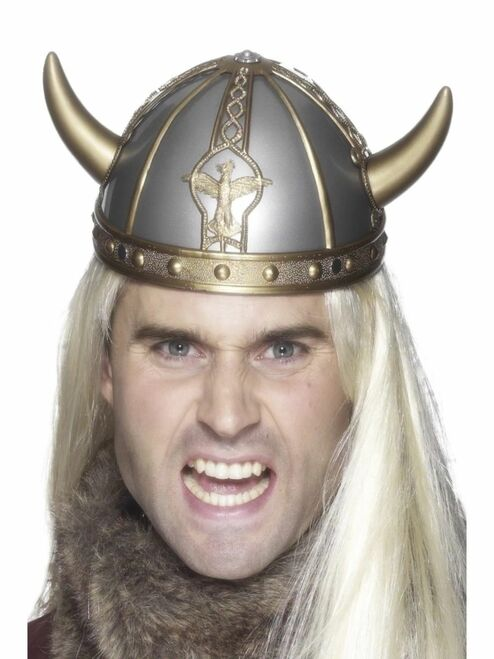 """18"""" Gold and Silver Viking Unisex Helmet with Horns Halloween Costume Accessory - One Size - IMAGE 1"""