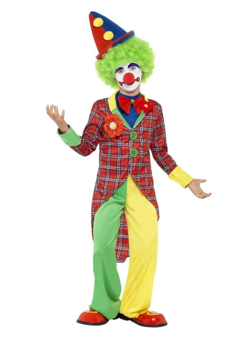 "49"" Red and Yellow Clown Boy Child Halloween Costume - Medium - IMAGE 1"