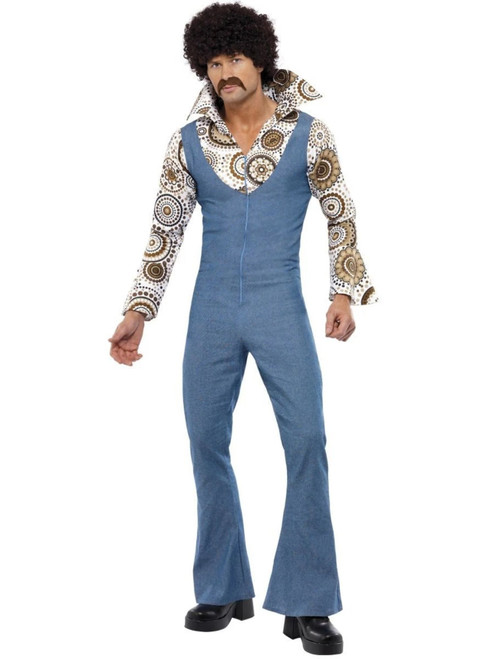 """49"""" Blue and White Groovy Dancer Men Adult Halloween Costume - Large - IMAGE 1"""