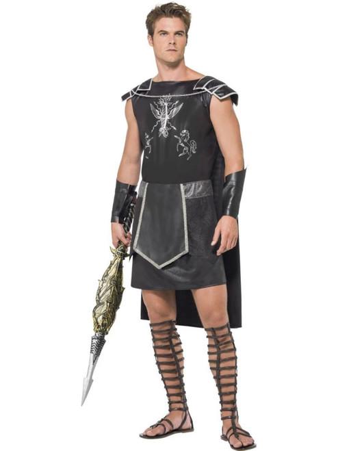 "50"" Black and White Men Adult Dark Gladiator Halloween Costume - Large - IMAGE 1"