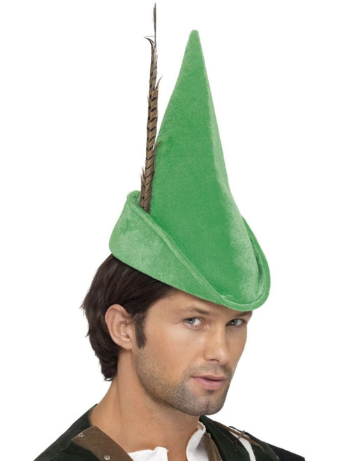 """32"""" Green Robin Hood Unisex Adult Hat with Feather Halloween Costume Accessory - One Size - IMAGE 1"""