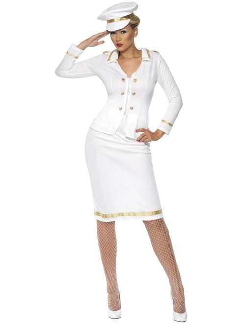 "40"" White and Gold Officer's Mate Women Adult Halloween Costume - Large - IMAGE 1"