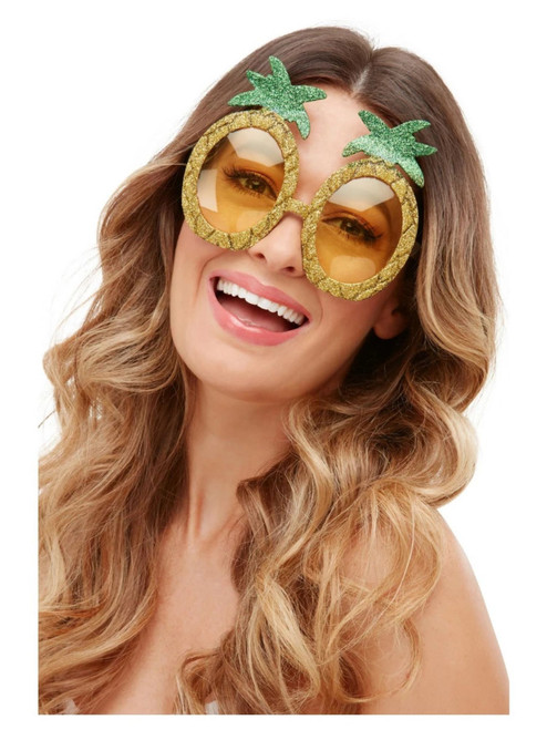 """19"""" Yellow and Green Glittering Tropical Pineapple Unisex Adult Halloween Glasses - One Size - IMAGE 1"""