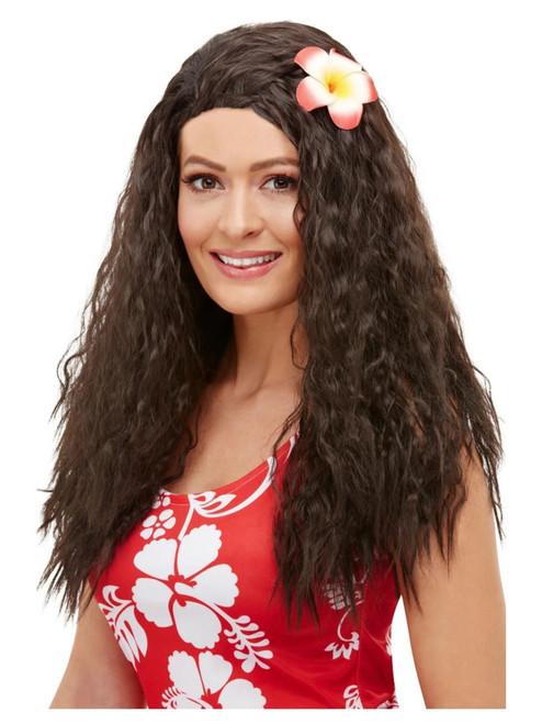 Brown Hawaiian Luau Long Flower Women Adult Halloween Wig Costume Accessory - One Size - IMAGE 1