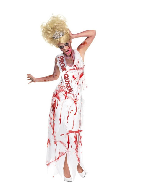 """49"""" White and Red Prom Queen Zombie Women Adult Halloween Costume - Large - IMAGE 1"""