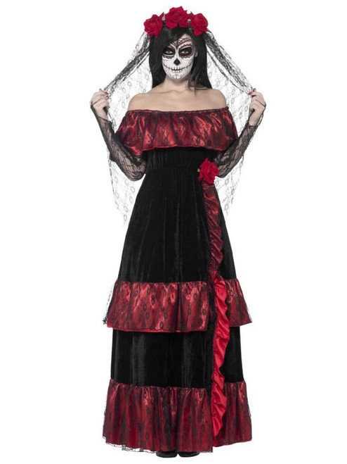 """42"""" Black and Red Day of the Dead Bride Women Adult Halloween Costume - Small - IMAGE 1"""