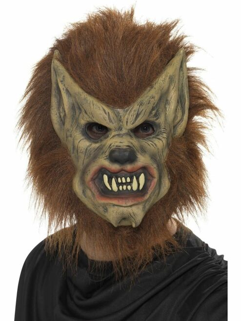 """40"""" Brown and Black Werewolf Halloween Mask Costume Accessory - One Size - IMAGE 1"""