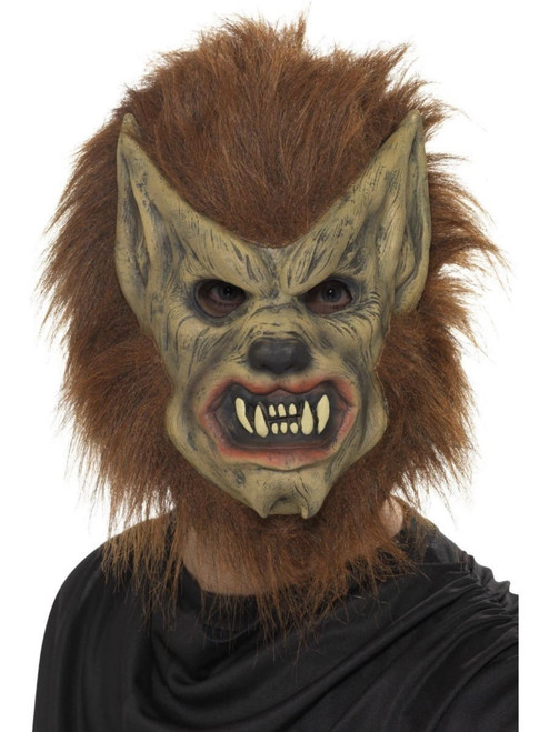 Brown and Black Werewolf Halloween Mask Costume Accessory - One Size - IMAGE 1