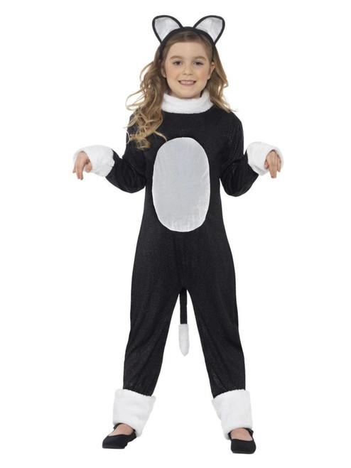 "49"" Black and White Cool Cat Girl Child Halloween Costume - Medium - IMAGE 1"