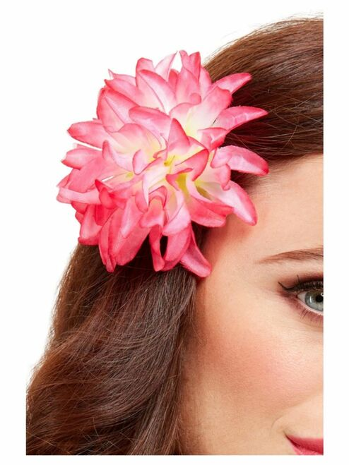 "19"" Pink and White Tropical Hawaiian Flower Women Adult Halloween Hair Clip - One Size - IMAGE 1"