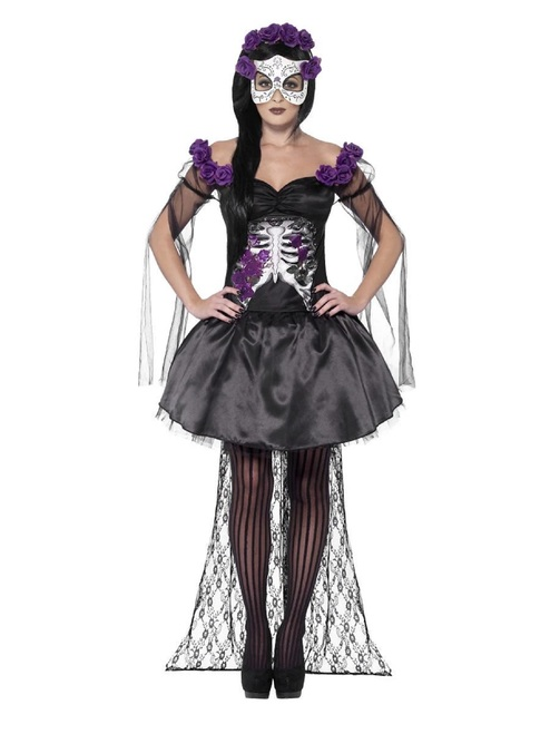 "42"" Purple and Black Day of the Dead Senorita Women Adult Halloween Costume - Small - IMAGE 1"