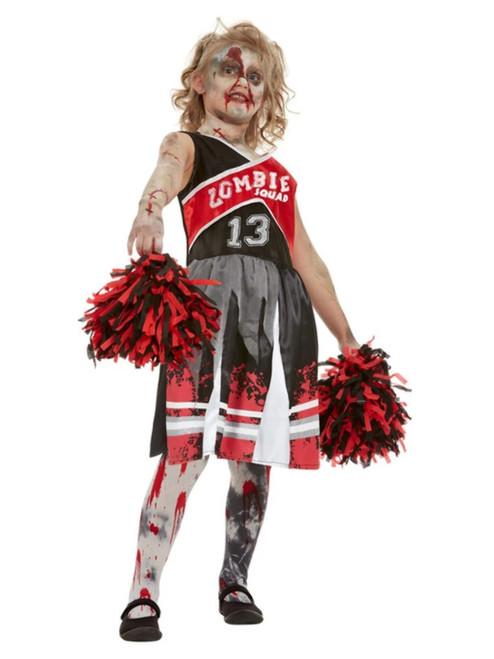 """40"""" Red and Black Zombie Cheerleader Girl Child Halloween Costume - Medium - IMAGE 1"""