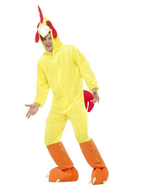 "40"" Yellow and Red Chicken Men Adult Halloween Costume - Medium - IMAGE 1"