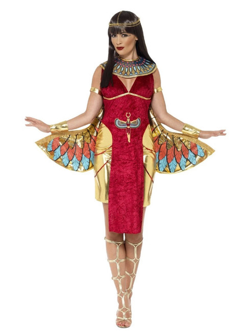 """49"""" Red and Gold Egyptian Goddess Women Adult Halloween Costume - Small - IMAGE 1"""