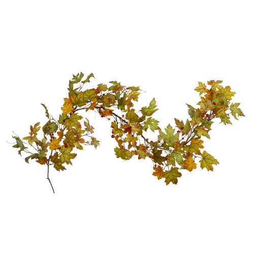 """5' x 6"""" Leaves and Berries Artificial Thanksgiving Garland - Unlit - IMAGE 1"""