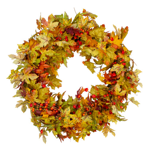 Berries and Twigs Artificial Thanksgiving Wreath Yellow 30-Inch - Unlit - IMAGE 1