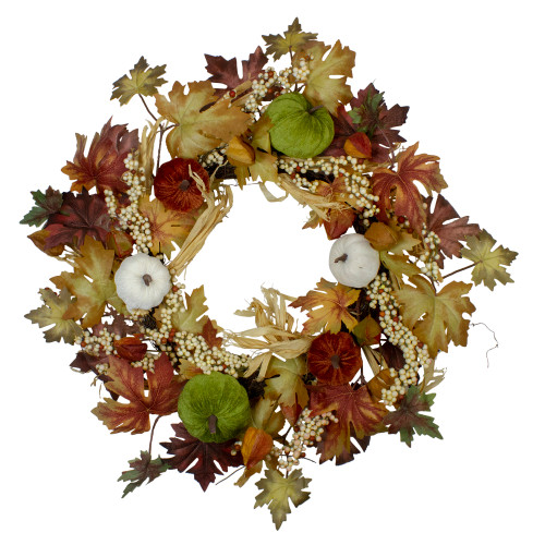 Green Pumpkins and Straw Artificial Fall Harvest Wreath - 24 inch, Unlit - IMAGE 1