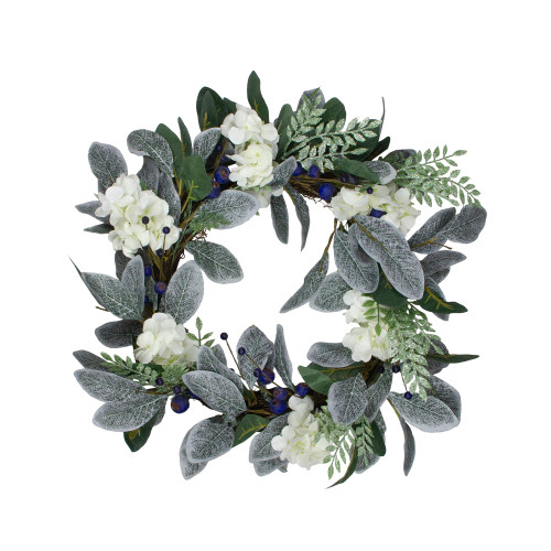 Iced Hydrangeas, Blueberries, and Foliage Artificial Christmas Wreath - 26 Inch, Unlit - IMAGE 1
